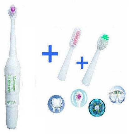 Ультразвуковая электрощетка + 2 сменные насадки, зубная щетка с насадками, фото 2