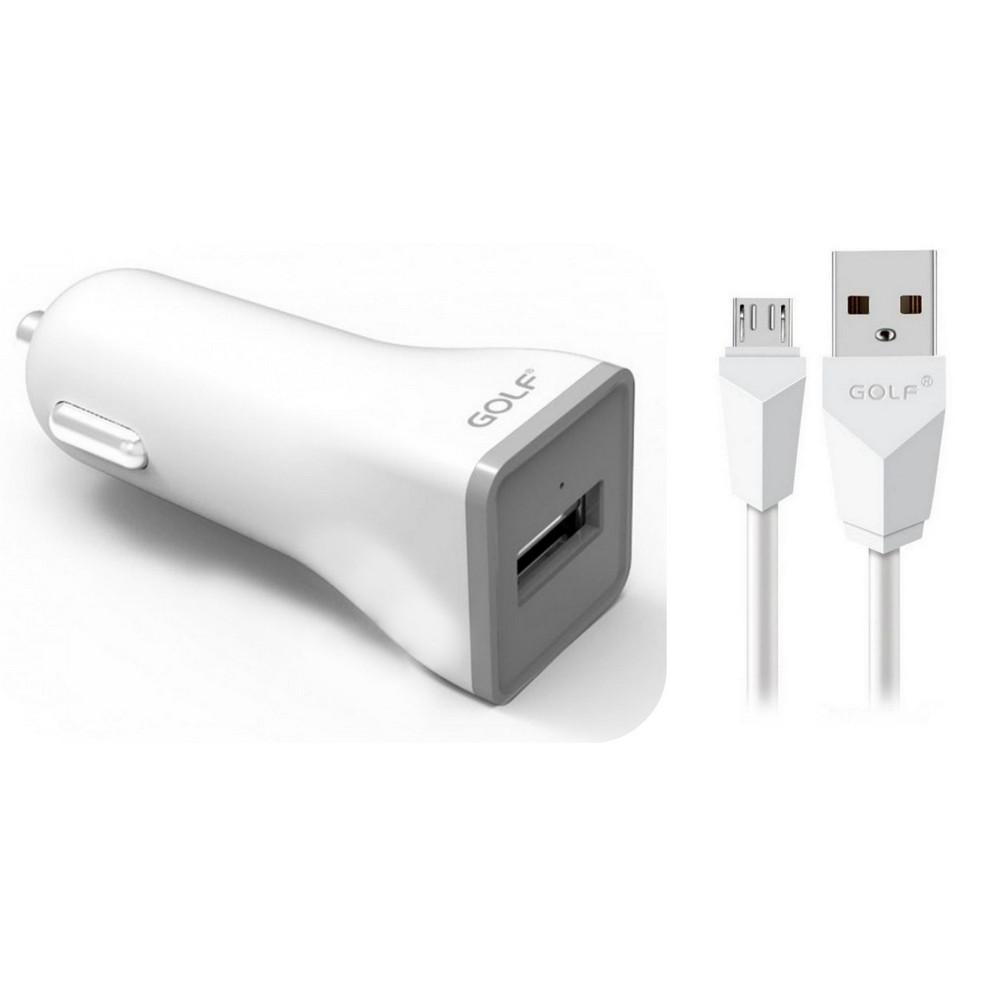 Автомобильное зарядное устройство (АЗУ) Golf GF-C1 SET + Micro cable 1USB 1A White