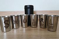Уникальный подарочный набор стопок в кожаном чехле с гравировкой логотипа на корпоратив, фото 1