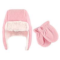 Набор шапка и рукавички 0-6,12-18,18-24 мес. Hudson baby (США) розовый