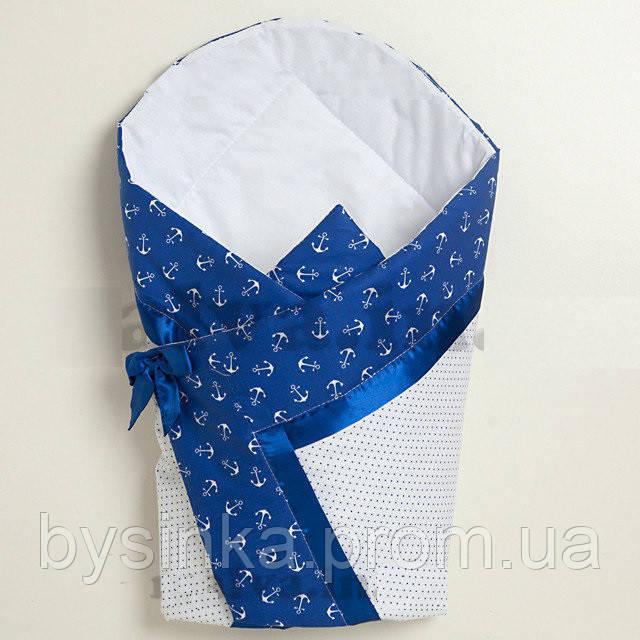 """Летний конверт на выписку """"Горошки / якоря"""" синяя лента"""
