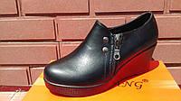 Туфли женские черного цвета на танкетке ,осень.р.36-37