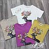 Женская футболка с аппликацией и камнями, в расцветках. АР-7-0718, фото 2