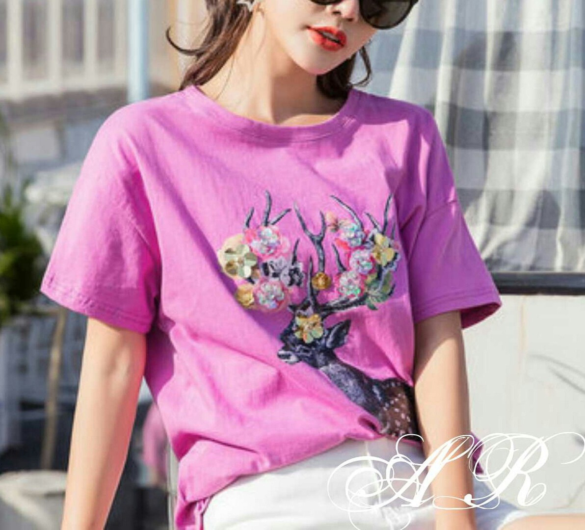Женская футболка с аппликацией и камнями, в расцветках. АР-7-0718