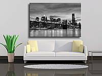 """Картина на холсте """"Бруклинский мост, Нью -Йорк, черно-белое фото"""""""