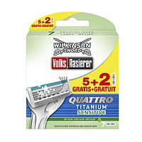 Сменные кассеты Wilkinson - Quattro Titanium Sensitive - 5+2  шт.