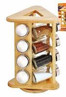 Набор для специй из 12 баночек на деревянной вращающейся подставке