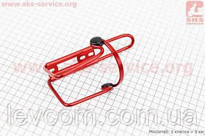 Флягодержатель алюминиевый с пластмассовыми вставками, крепл. на раму, красный