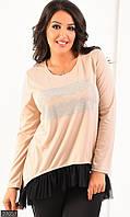 Женское платье размер: 50-52; 54-56, цвет: бежевый, ткань: камни, сетка, трикотаж французский,, длина: