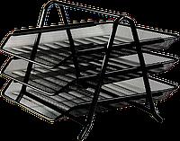 Металлический лоток для бумаги buromax bm.6252-01 черный горизонтальный 3 в 1