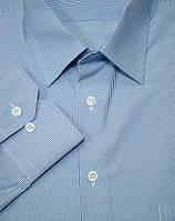 Мужская рубашка голубая в полоску
