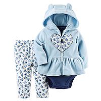 Комплект флисовый для девочки Carters голубой Сердечко