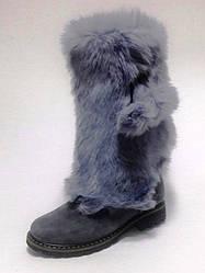 Сапоги зимние женские серые замшевые снатуральным мехом кроля высота до колена без застежки