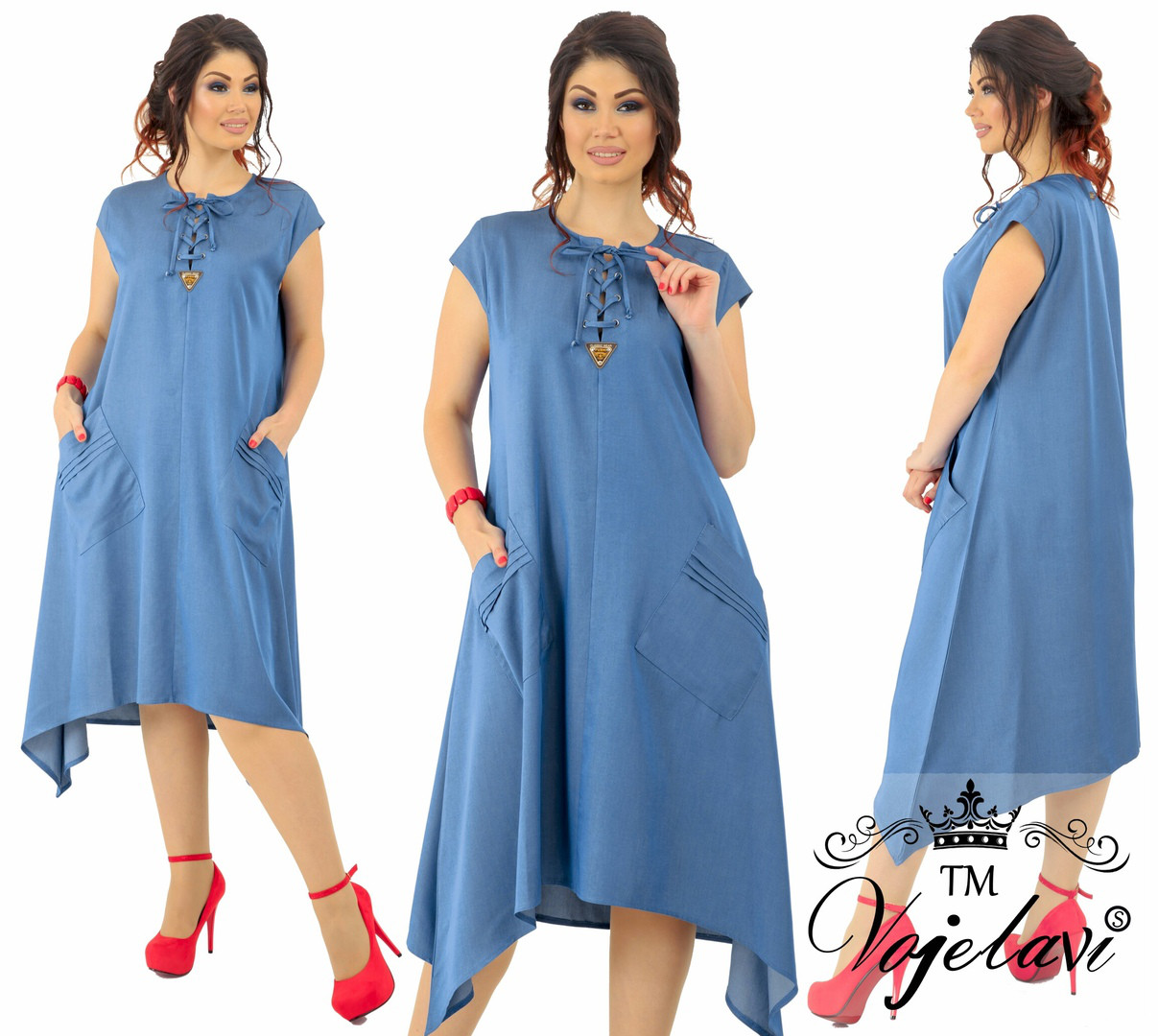 1b1816557b1 Джинсовое платье на женщин т.м. Vojelavi A1159 оптом и в розницу ...