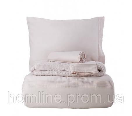 Набор постельное белье с пледом Karaca Home сатин Brezza pudra пудра евро размера Коллекция 2018