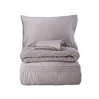 Набор постельное белье с пледом Karaca Home сатин Brezza lila лиловый евро  размера Коллекция 2018 d3eda6d18bc90