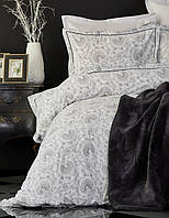 Набор постельное белье с пледом Karaca Home Tierra Siyah черный евро размера Коллекция 2018