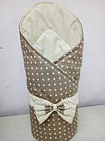 Конверт Одеяло для новорожденных на выписку с бантом весна лето осень 80х80см Горох бежевый