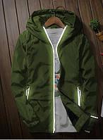 Мужская куртка ветровка с капюшоном цвета хаки