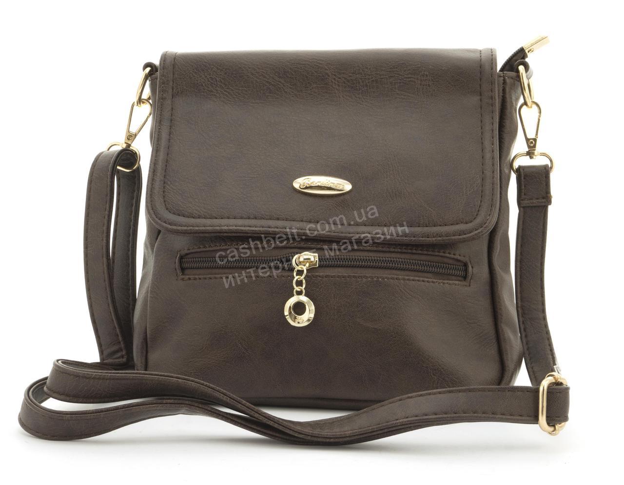 Небольшая практичная удобная и прочная небольшая сумочка почтальонка KENGURU art. F2466 коричневая