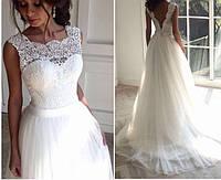 Красивое модное свадебное платье с пышной длинной юбкой и открытой спиной СВ-586