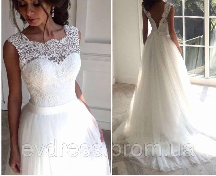 e3af01cc7 Красивое модное свадебное платье с пышной длинной юбкой и открытой спиной  СВ-586, цена 2 790 грн., купить в Киеве — Prom.ua (ID#736491924)