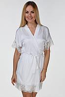 Кружевной халат из шелка Хб041н Белый