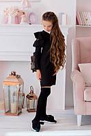Школьное платье с длинным рукавом белым воротником и воланами чёрное 128 134 140 146 152, фото 1