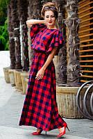 Платье макси в клетку Шерлиз до 60 размера