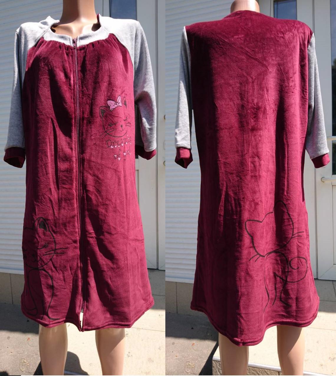 Жіночий велюровий халат на блискавці з принтом у вигляді кішки 44-54 р