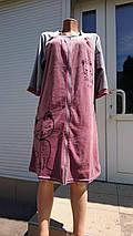 Жіночий велюровий халат на блискавці з принтом у вигляді кішки 44-54 р, фото 2
