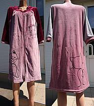 Жіночий велюровий халат на блискавці з принтом у вигляді кішки 44-54 р, фото 3