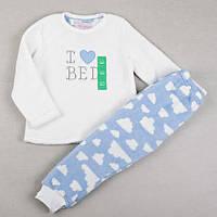 "Теплая детская пижама Primark ""Белые облака"", размер 98 см"