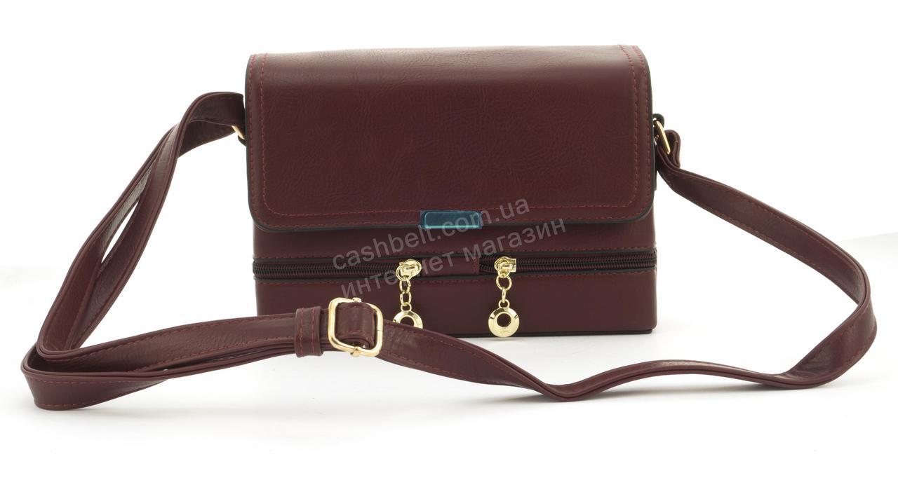 Небольшая практичная удобная и прочная небольшая сумочка почтальонка Скорпион art. F-8012 бордовый