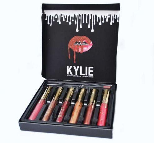 Набор матовая жидкая помада 6шт + карандаш Kylie, Набор жидких матовых помад Кайли