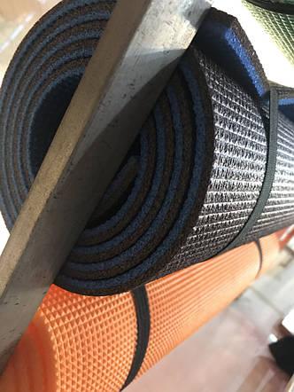 Функциональный коврик для йоги и фитнеса двухслойный 8мм черный/синий, фото 2