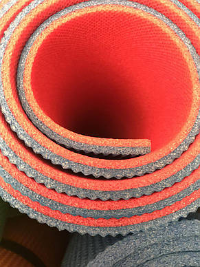 Коврик для йоги и фитнеса двухслойный 8мм красный/серый, фото 2