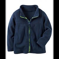 Флисовая кофта, свитер, реглан поддева Carters для мальчика синяя на молнии, Размер 8, Размер 8