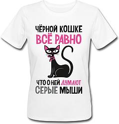 Женская футболка Чёрная Кошка (белая)