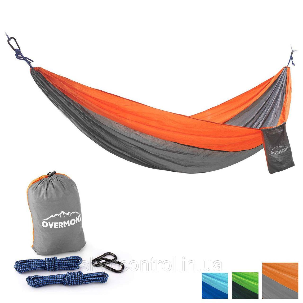 Overmont Portable Double 2 Person Orange + Grey Гамак Парашют для кемпинга Пешеходный туризм 118.1x78.7