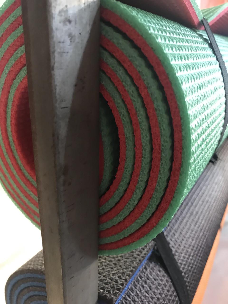 Легкий коврик для йоги и фитнеса двухслойный 8мм зеленый/красный
