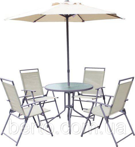 Набор садовой мебели (стол + 4 стула + зонт)