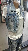 Жилетка джинсовая женская 48+ короткая.