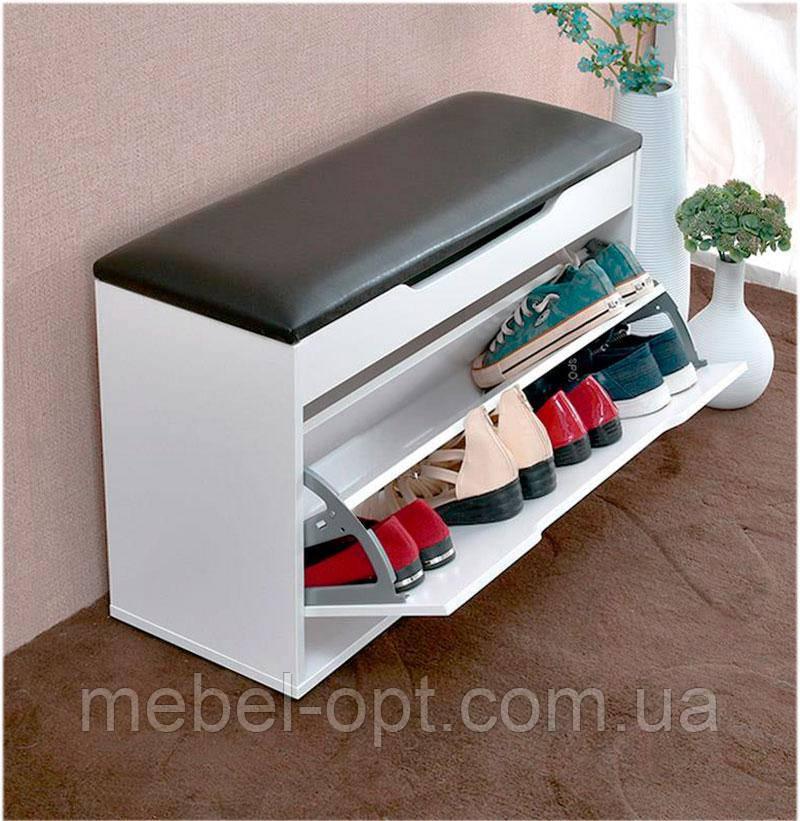 обувная тумба Prestigio с кассетой для хранения обуви с мягким сиденьем с нишей выбор цвета размера и обивки цена в киеве