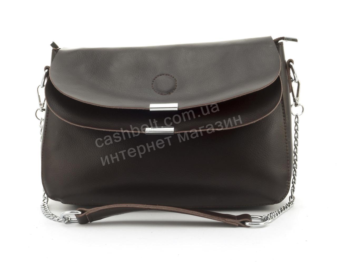 Удобная вместительная кожаная сумочка среднего размера SOLANA art. A103 Турция коричневая