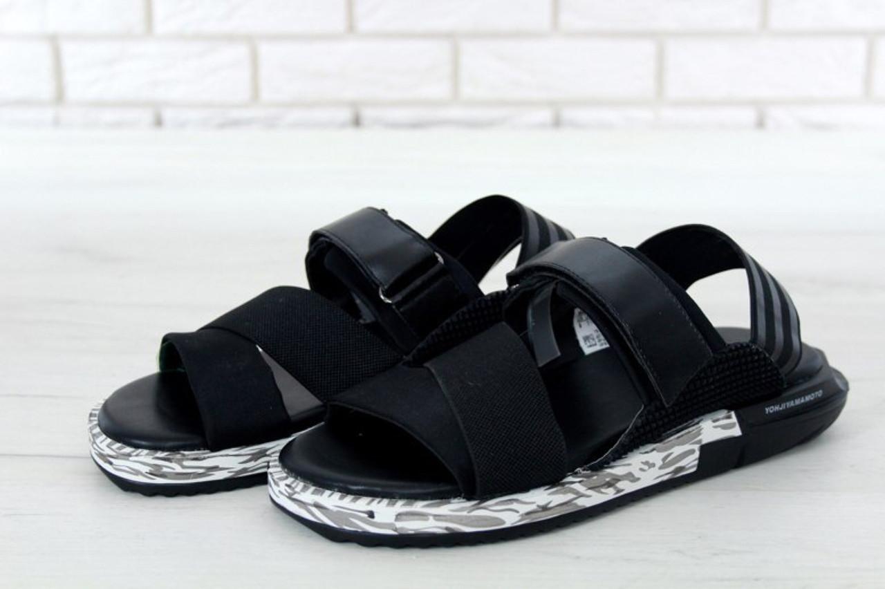 Сандалии мужские  Yohji Yamamoto  кожаные классические, удобные (черные), ТОП-реплика