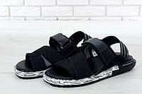 Сандалии мужские  Yohji Yamamoto  кожаные классические, удобные (черные), ТОП-реплика, фото 1