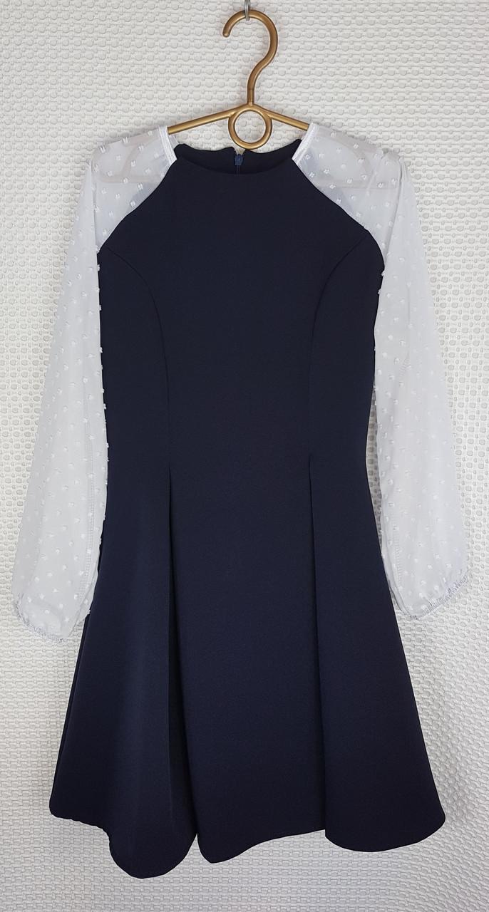 Школьное Платье Рыбка р.146-164 темно-синий+ белый