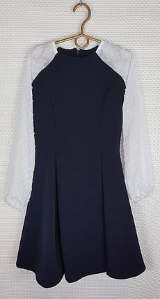 Школьное Платье Рыбка р.146-164 темно-синий+ белый, фото 2