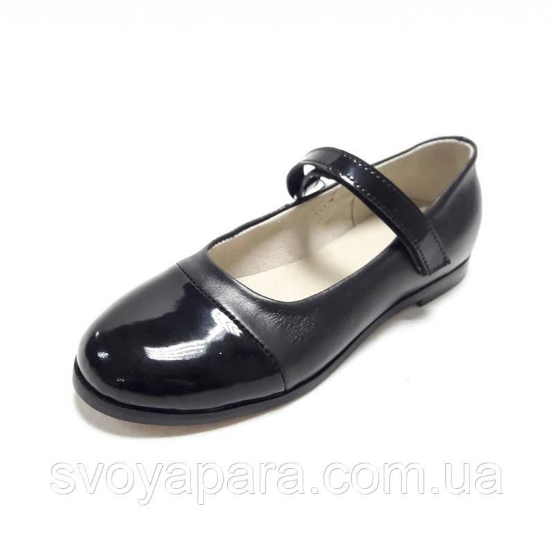 Туфли балетки черные кожаные с кожаной подкладкой детские для девочки